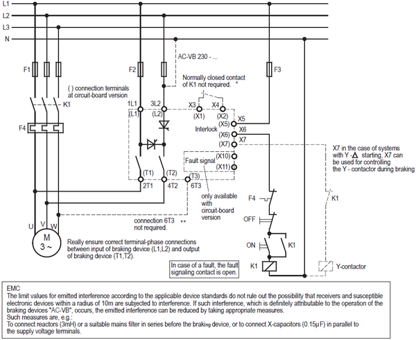 PETER ELECTRONIC, BRAKING DEVICES VERSIBRAKE 230/400-6/25/30L (LP) CONNECTION DIAGRAM
